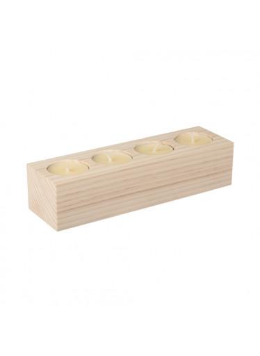 ČistéDřevo Svícen dřevěný pro 4 svíčky II