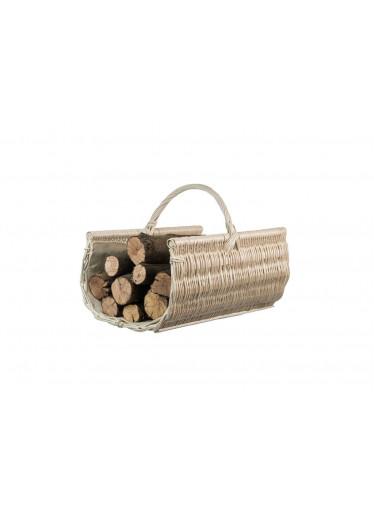 ČistéDřevo Proutěný koš na dřevo zaoblený bílý - malý