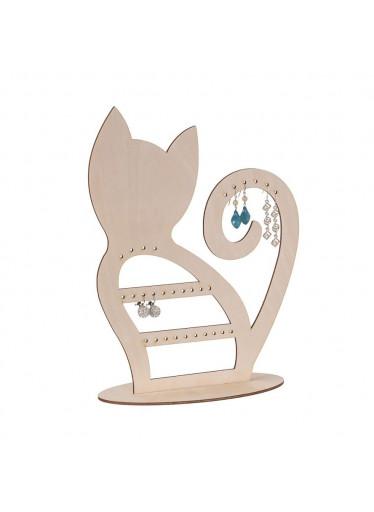 ČistéDřevo Dřevěná kočka na šperky