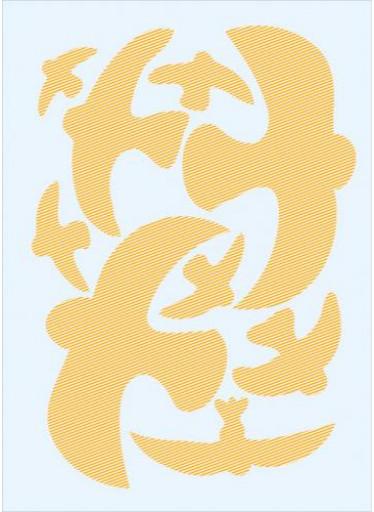 Ptačí siluety na sklo 9 ks - oranžové s průhlednými pruhy