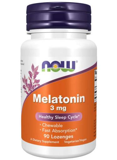 NOW® Foods NOW Melatonin 3 mg, 90 pastilek