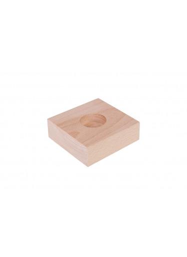 ČistéDřevo Svícen dřevěný pro 1 svíčku - plochý