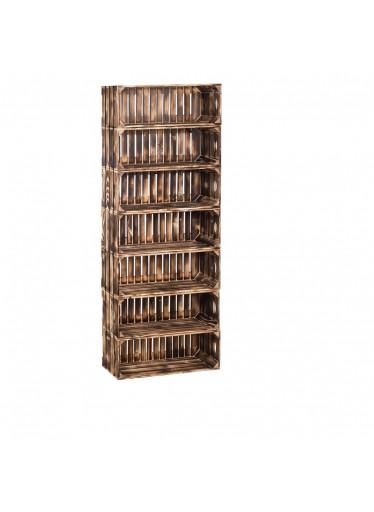 ČistéDřevo Dřevěné opálené bedýnky regál 154 x 60 x 24 cm