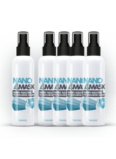 5 x NANO4MASK nástřik nanostříbra na bavlněné roušky 100 ml