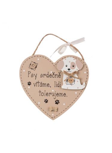 ČistéDřevo Dřevěná cedulka psy srdečně vítáme, lidi tolerujeme