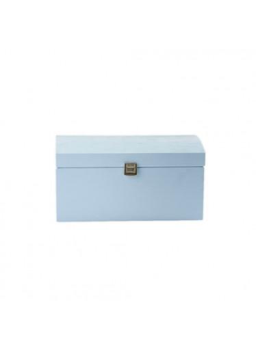 ČistéDřevo Dřevěná truhla 35x25x18,5 cm - světle modrá