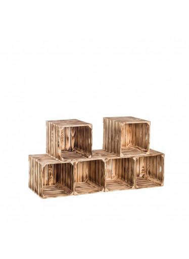 ČistéDřevo Dřevěné opálené bedýnky botník 120x60x35 cm