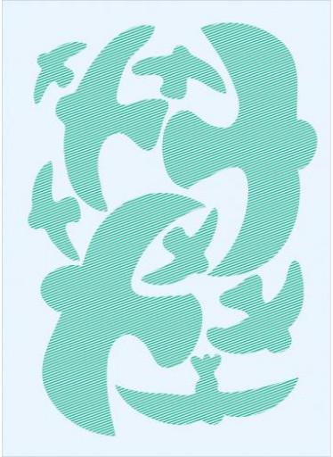 Ptačí siluety na sklo 9 ks - zelené s průhlednými pruhy