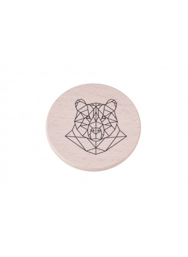 ČistéDřevo Dřevěný podtácek - Geometrický medvěd