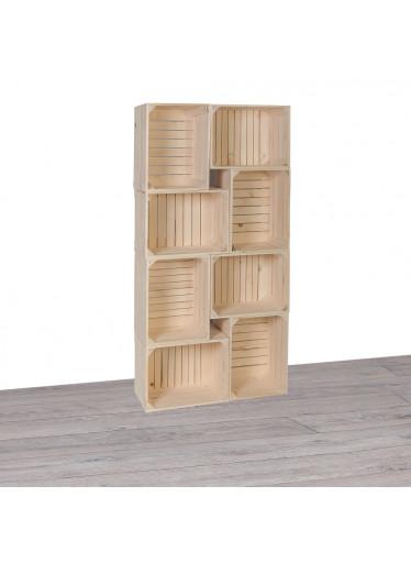 ČistéDřevo Dřevěné bedýnky knihovna II 70x140x24 cm
