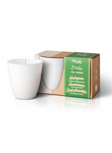 The Greatest Candle Sada - 1x svíčka (130 g) + 2x náplň - mojito - doma si vyrobíte dvě další svíčky