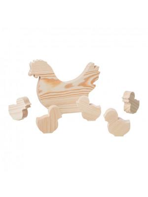 ČistéDřevo Dřevěná slepice s kuřaty