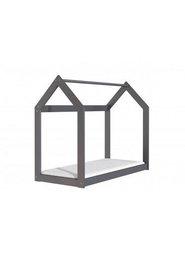 ČistéDřevo Dřevěná postel domeček 160 x 80 cm šedá + rošt