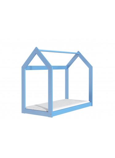 ČistéDřevo Dřevěná postel domeček 160 x 80 cm modrá + rošt