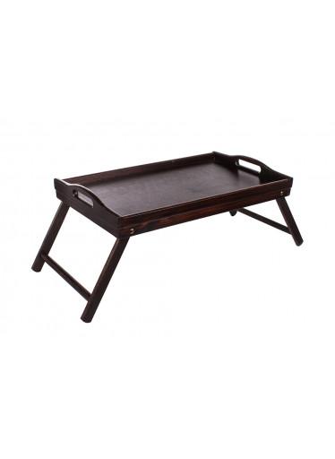 ČistéDřevo Dřevěný servírovací stolek do postele 50x30 cm tmavý
