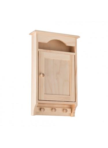 ČistéDřevo Dřevěná skříňka na klíče s věšákem
