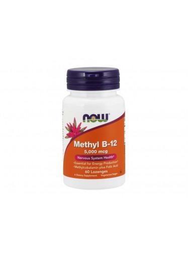 NOW Methyl B12 with Folic Acid (Vitamín B12 + Kyselina Listová v aktivních formách), 5000 mcg, 60 pastilek