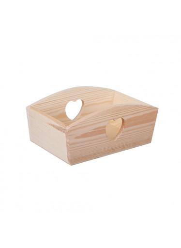 ČistéDřevo Dřevěný košík se srdíčkem
