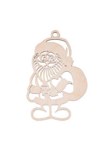 ČistéDřevo Dřevěná vánoční ozdoba - Santa