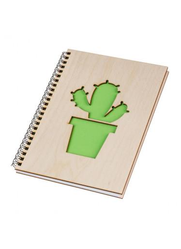 ČistéDřevo Dřevěný blok A5 - kaktus II