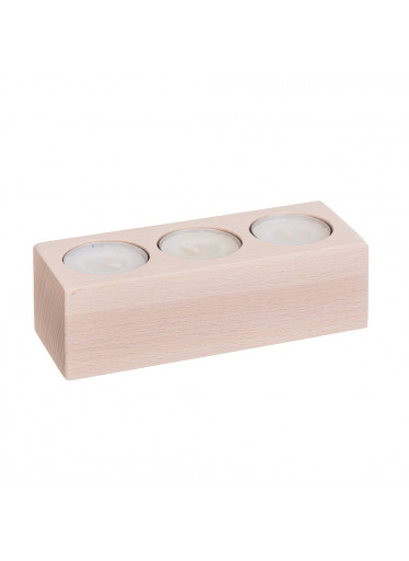 ČistéDřevo Svícen dřevěný pro 3 svíčky