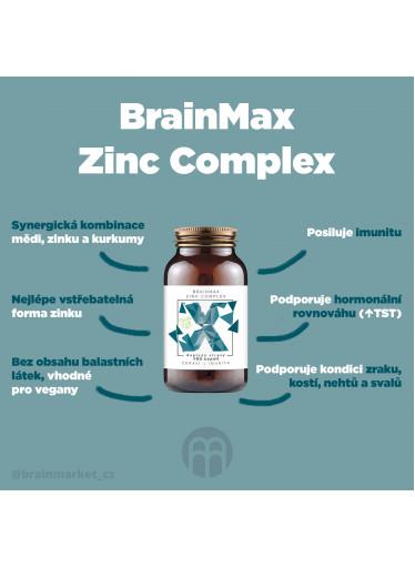 BrainMax Zinc Complex, Zinek, Měď, Selen, Bio Kurkuma, 100 rostlinných kapslí