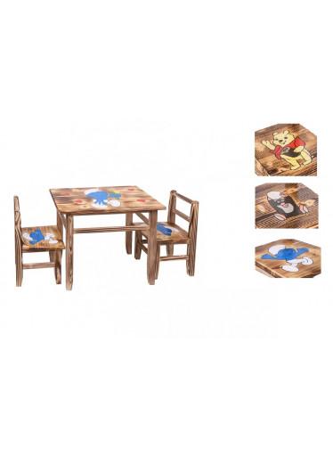 ČistéDřevo Dětský dřevěný stoleček s židličkami