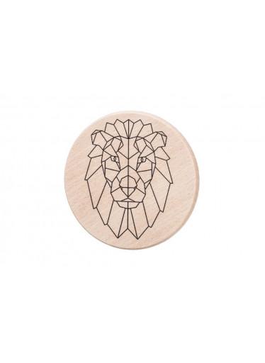 ČistéDřevo Dřevěný podtácek - Geometrický lev