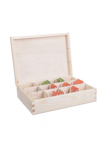 ČistéDřevo Dřevěná krabička na čaj (12 přihrádek)