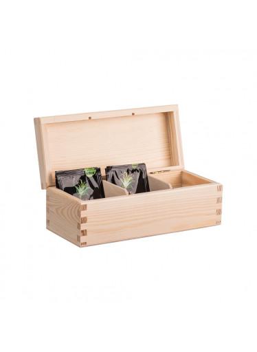 ČistéDřevo Dřevěná krabička na čaj (3 přihrádky)