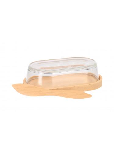 ČistéDřevo Dřevěná máslenka se skleněným poklopem a nožem