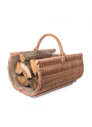 ČistéDřevo Proutěný koš na dřevo zaoblený přírodní