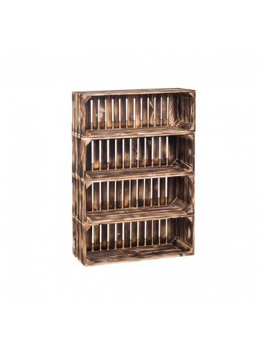 ČistéDřevo Dřevěné opálené bedýnky regál 88 x 60 x 24 cm
