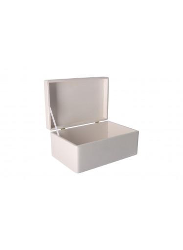ČistéDřevo Dřevěný box s víkem 30 x 20 x 14 cm bez rukojeti - bílý