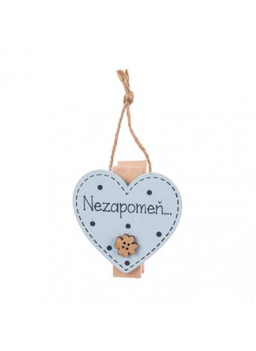 ČistéDřevo Dřevěná cedulka s magnetem a kolíčkem nezapomeň