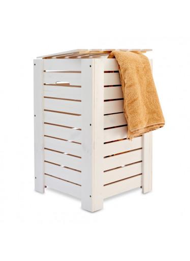 ČistéDřevo Dřevěný koš na prádlo - bílý