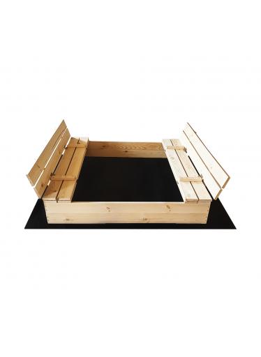 ČistéDřevo Dřevěné pískoviště s lavičkami 120 x 120 cm