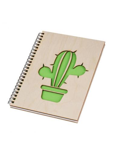 ČistéDřevo Dřevěný blok A5 - kaktus I