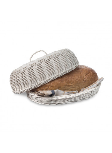ČistéDřevo Proutěná ošatka na pečivo s víkem bílá