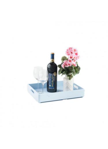 ČistéDřevo Dřevěná bedýnka 40x30x6 cm - světlé modrá