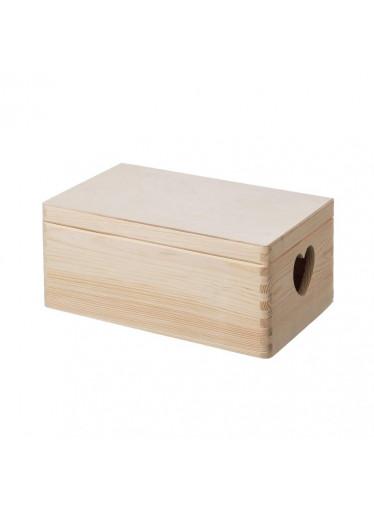 ČistéDřevo Dřevěný box s víkem a srdíčky