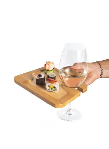 ČistéDřevo Servírovací prkénko s držákem na sklenici vína
