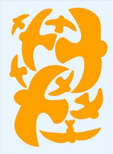 Ptačí siluety na sklo 9 ks - oranžové