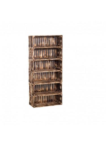 ČistéDřevo Dřevěné opálené bedýnky regál 132 x 60 x 24 cm
