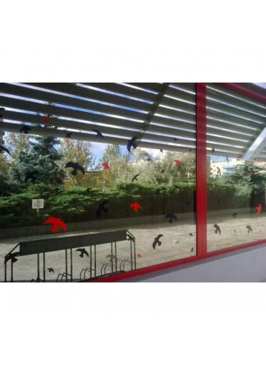 Ptačí siluety na sklo 9 ks - hnědé s průhlednými pruhy